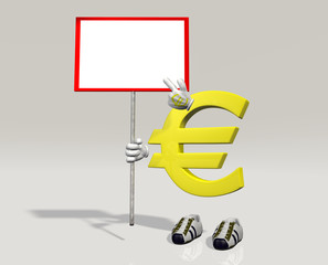 Euro symbol character with sign in hand