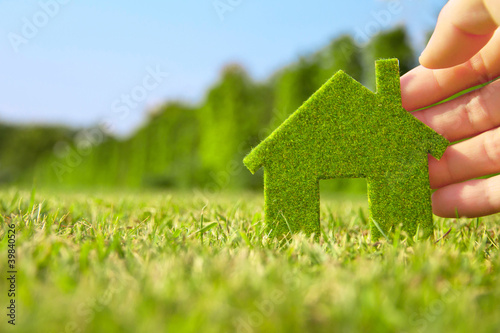 hand holding eco house icon in nature
