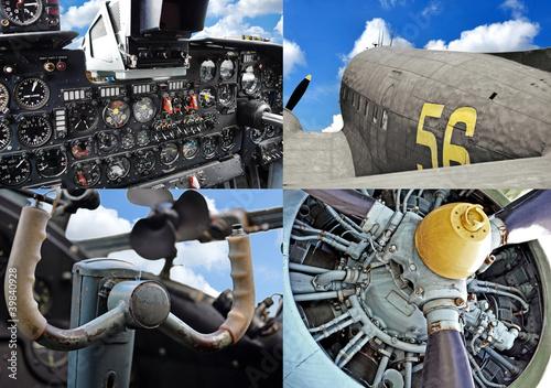retro-lotnictwa-stary-zestaw-samolotow-wojskowych