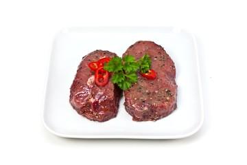 Marinated beef steaks