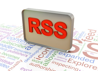 3d RSS on rss wordcloud background