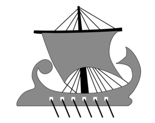 galley silhouette on white background,