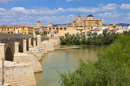 Guadalquivir River through Cordoba's Roman bridge and the Mosque