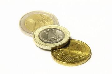 Three Euro coins