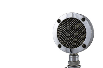 Close up old microphone on white background