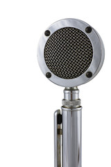 Old microphone on white background