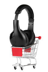 Shopping cart with headphones