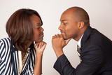 Romantic black couple face to face together smiling