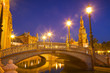 Plaza de España in Sevilla at night, Spain