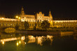 Plaza de España in Sevilla at night, Spain. Panoramic