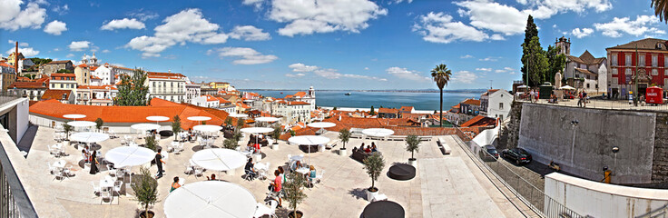 Lisbon / Lisboa - capital of Portugal. View of the Alfama and ri