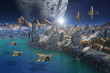 Alien City with Moon and Spaceships