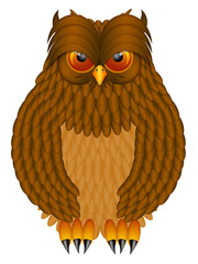 Brown Horned Owl Illustration