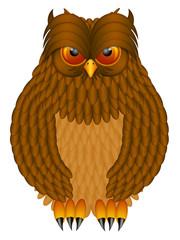 Brown Horned Owl Illustration
