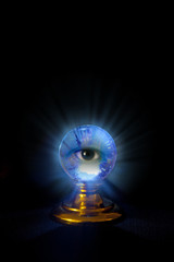 Glowing crystal ball with eye