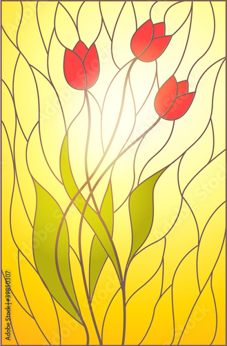 witraz-z-motywem-kwiatowym