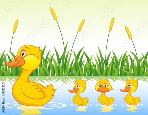 Duck family cartoon