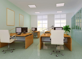 3d modern office room.