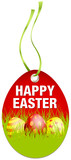 Hangtag Happy Easter Eggs Red