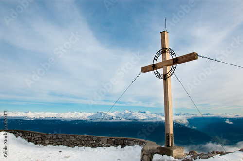Wood cross on the mountain top, Innsbruck, Tirol, Austria