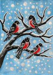 Bullfinches on branch, painting