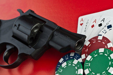 Casino. revolver, cards and counters