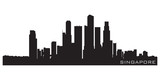 Singapore, Asia skyline. Detailed vector silhouette poster