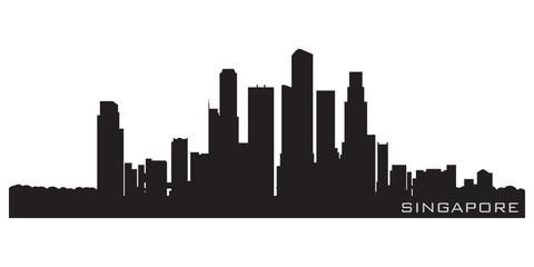 Singapore, Asia skyline. Detailed vector silhouette