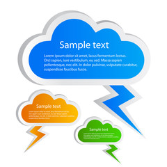 Clouds speech bubbles set, vector illustration