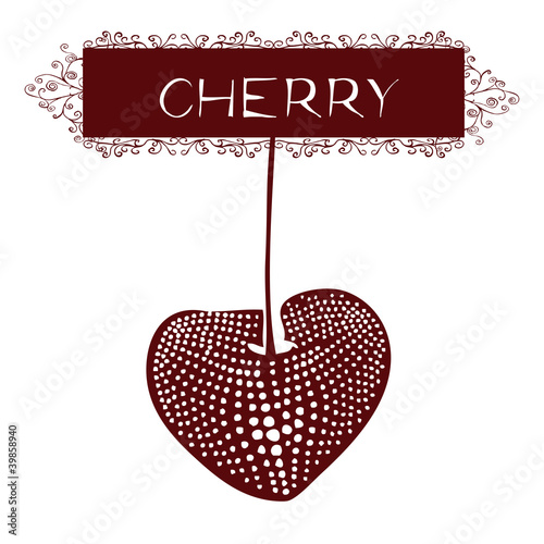 Original drawing of cherry on white background- label