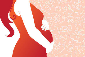 Silhouette of pregnant woman  with seamless baby background
