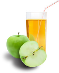 Apples and juice glass
