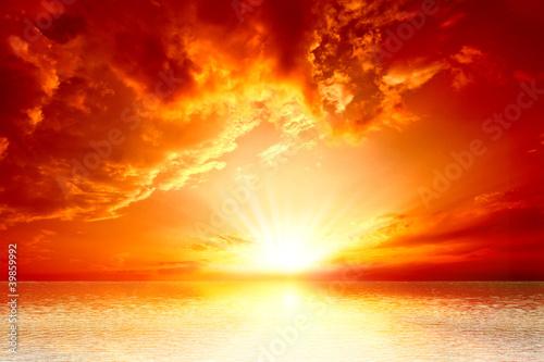 Aluminium Zonsondergang red sunset