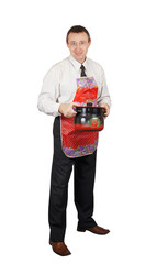 Man in the apron with a pan