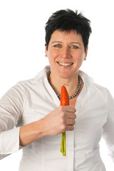 Woman singing with a carrot