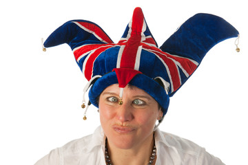 Woman with cross eyes to Brittain funny hat