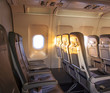 sunrise inside the cabin of a modern aircraft