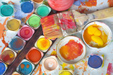 color paint and painting, still life, bruhes and paint splatters