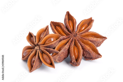 Anise star (Illicium verum) isolated on white background.