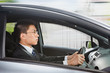 Chinese businessman driving car