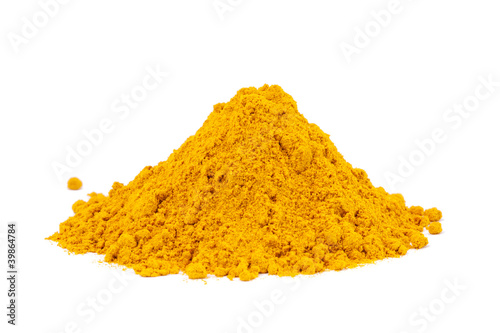 Heap ground Curry (Madras Curry) isolated on white background.