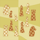 background with stylized chess pieces
