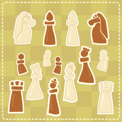 stickers with stylized chess figures