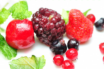 Close up of frozen mixed fruit - berries