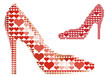 shoe with red heart pattern, vector