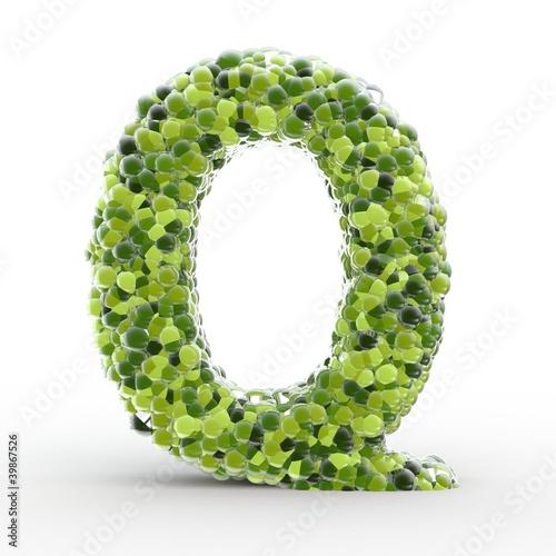 Texteffekt Moleküle grün Q