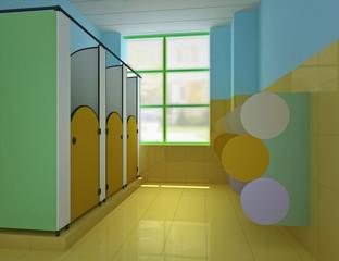 3d public children's toilet.
