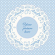 Vintage Lace Doily Frame, Pastel Blue Polka Dot Background