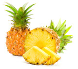 Fototapety Fresh slice pineapple on white background