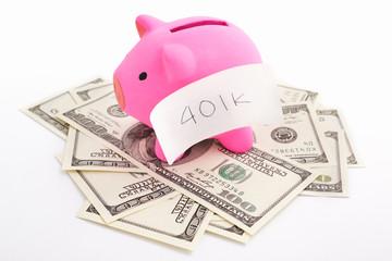 Piggy bank 401K and dollar